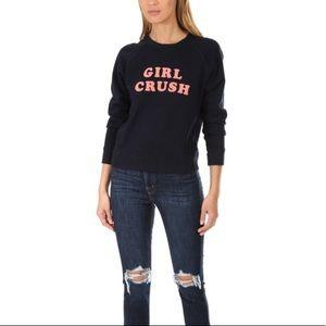 MOTHER Girl Crush Sweatshirt Navy Blue Size Medium